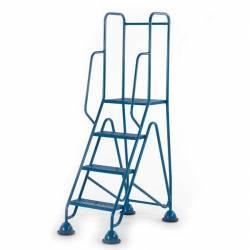 Escalera de acero autofrenante de castillo de cuatro peldaños azul