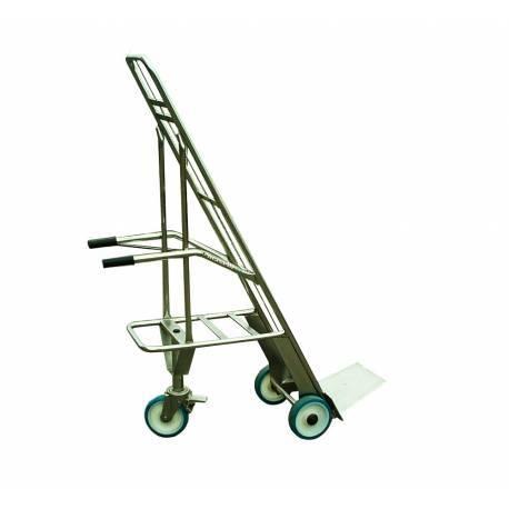 Carretilla portacajas de 3 ruedas para transporte de carnes, pescado y queso de acero inoxidable AISI 304