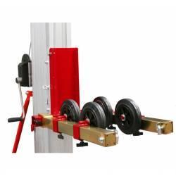 Adaptador de persianas y puertas enrollables para elevador manual plegable de 200/300/400 kg de capacidad en uso