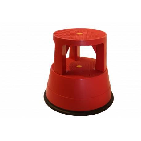 TABURETE rojo giratorio con ruedas pvc